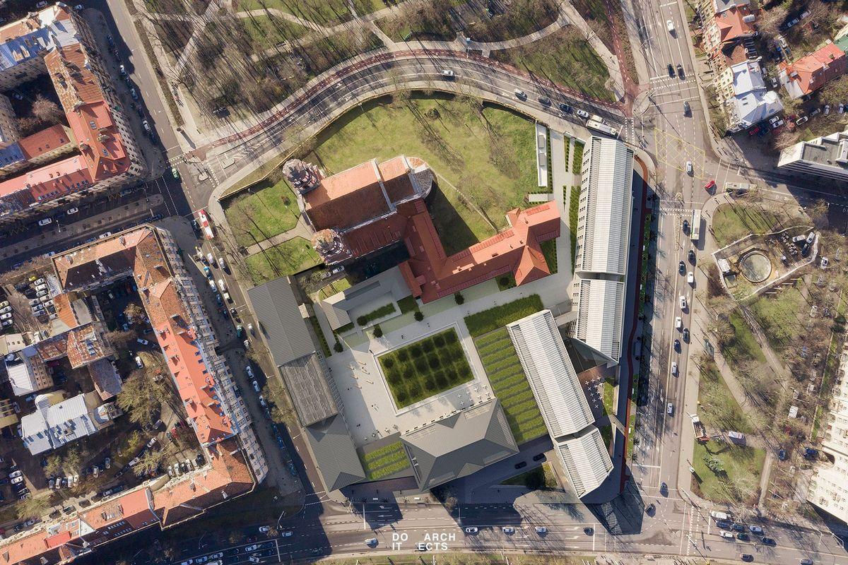Projektuojamo šv.Jokūbo ir Pilypo kvartalo aero-vizualizacija. DO Architects