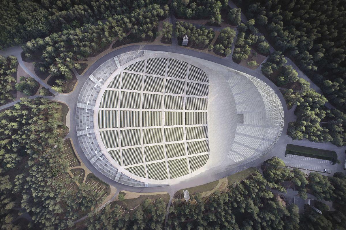 Latvijos Dainų Estradą Rygos Miško parke suprojektavo architektai Austris Mailitis ir Juris Poga. Pav: architektų