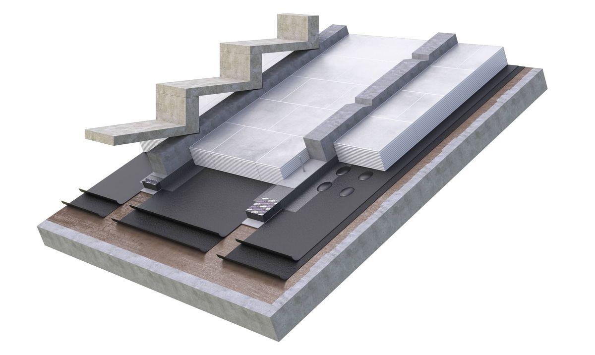 """Dainų Estrados detalė (iš viršaus): surenkamos betoninės pakopos; """"Foamglas Skypearls"""" plokštės, suklijuotos tarpusavyje; bituminė stogo danga; monolitinio betono perdanga. Pav: PR partnerio."""