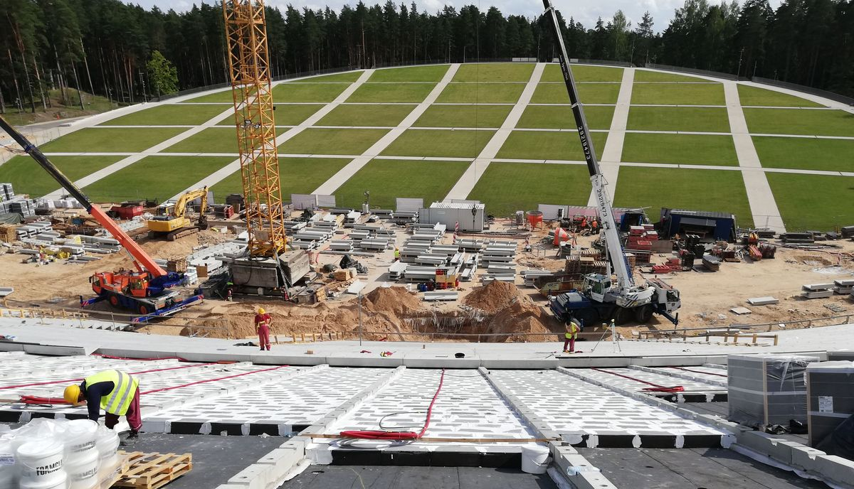 Latvijos Dainų Estrados Rygos Miško parke statybų procesas. Foto: PR partnerio.