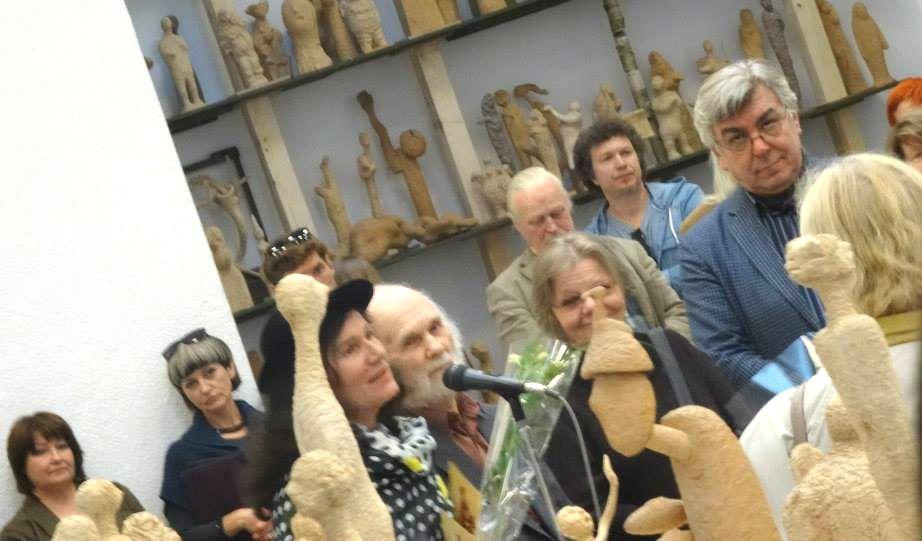 Skulptorius Leonas Strioga – vienas labiausiai Osvaldo Daugelio vertinamų. 2015 birželis. Foto: O.Daugelio asmeninis archyvas.