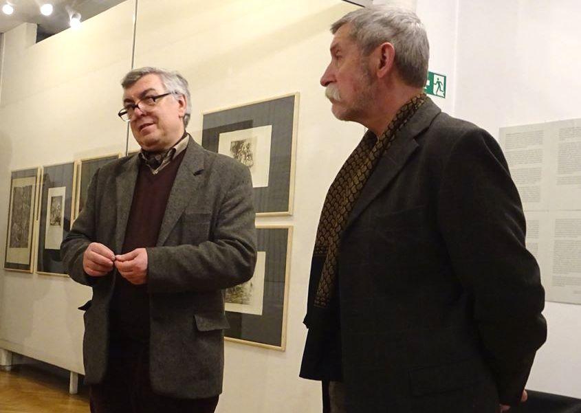 Osvaldas Daugelis nuolatinį dėmesį skyrė aukštąjam menui. Edmundo Saladžiaus grafikos paroda, 2018 sausis. Foto: O.Daugelio asmeninis archyvas.