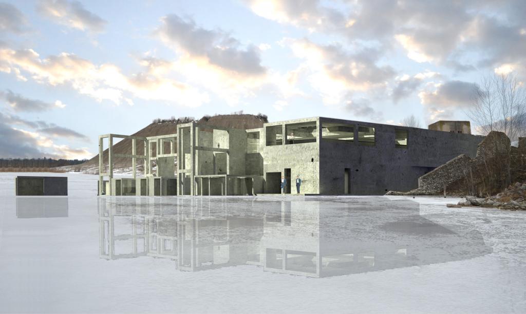 """Rumu industrinio parko galimybes pirmiausia """"apšaudė"""" estų architektūros studentai. Nardymo centro koncepcija (Anna Liisa Saavaste)."""