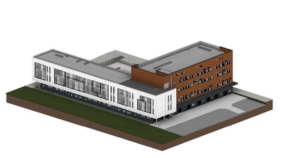 """Elektronikos, Mechanikos ir Transporto inžinerijos (EMTI) fakultetų laboratorijų korpusas (arch. UAB """"TEAM architektai""""; PDV – V.Grigaitis, J.Šeibokas)"""