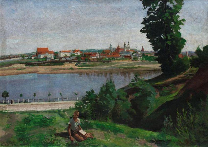 """""""Kauno vaizdas nuo Marvos upės ir studentas"""", J.Šileika, 1940 m."""
