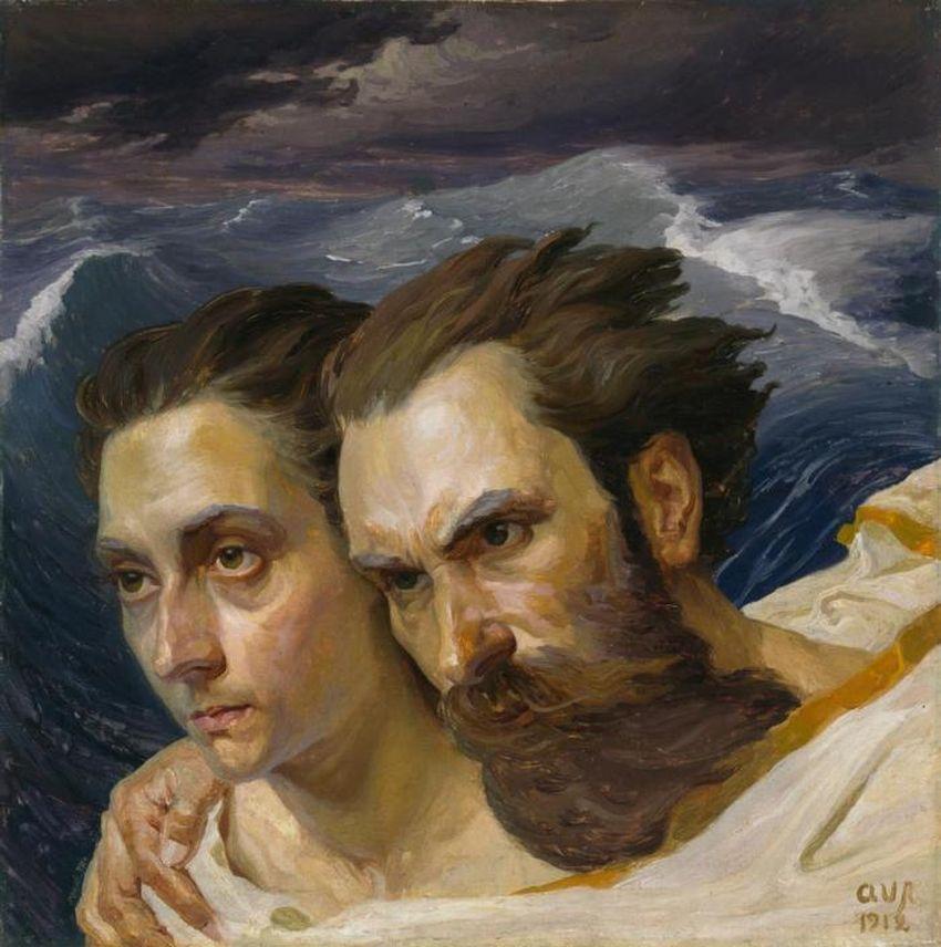 """""""Portretas su žmona"""", A.Varnas, 1912 m."""