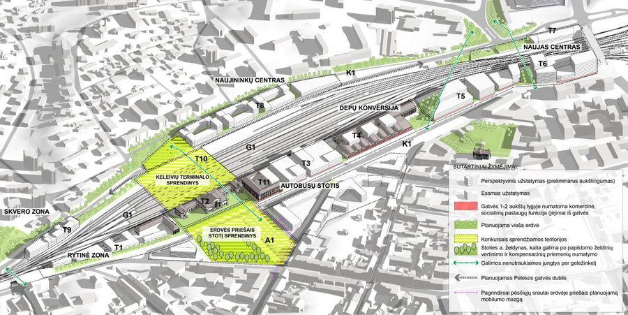 """Vilniaus stoties rajono schema (arch. SĮ """"Vilniaus planas"""")"""