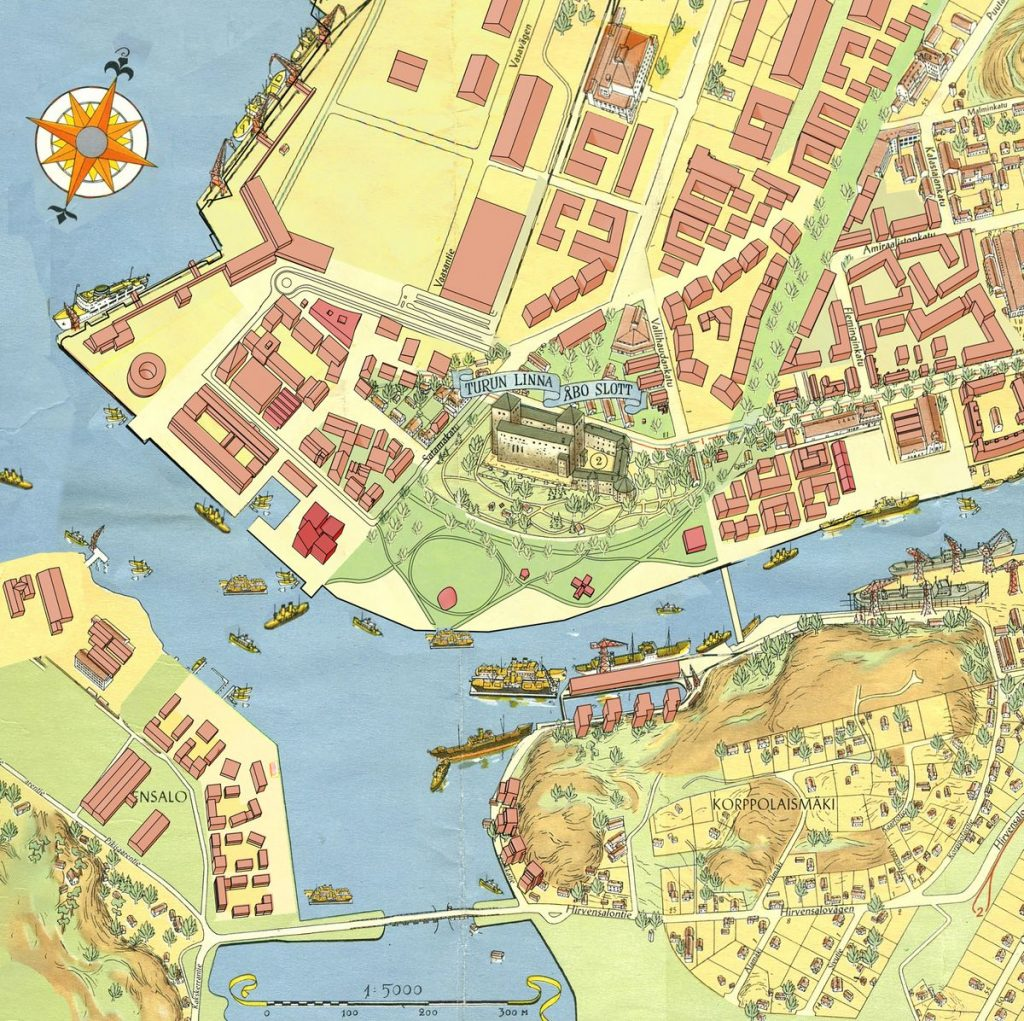 """Kolektyvas """"After Party"""" Linnanniemi teritoriją traktavo kaip 3 skirtingų dalių dėlionę, konkursinis projektas (arch. G.Mamavičius, G.Ubarevičiūtė, S.Hyvärinen bei M.Härme ir E.Hartman), 1-oji vieta"""