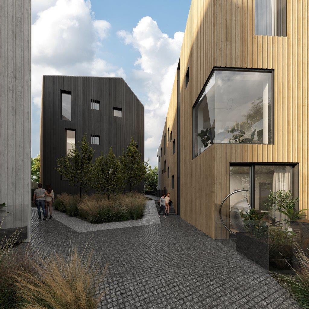 24 butų gyvenamasis namas su požemine automobilių stovėjimo aikštele (arch. G.Čaikauskas, J.Lasys)
