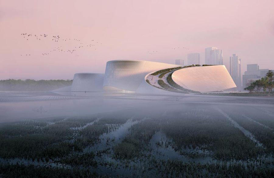 """Šendženo gamtos istorijos muziejus (arch. 3XN, B+H,  """"Zhubo Design"""")"""