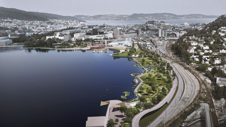 """Bergeno pakrantės parkas (arch. """"White Arkitekter""""). Pav.: """"Aesthetica Studijos""""."""