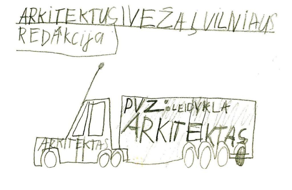 Redakcijos artefaktų archyvas: Tiražo platinimas, 1997.04. Žymaus vokietijos konstruktorių biuro bendradarbio P.Ambraso piešinys.