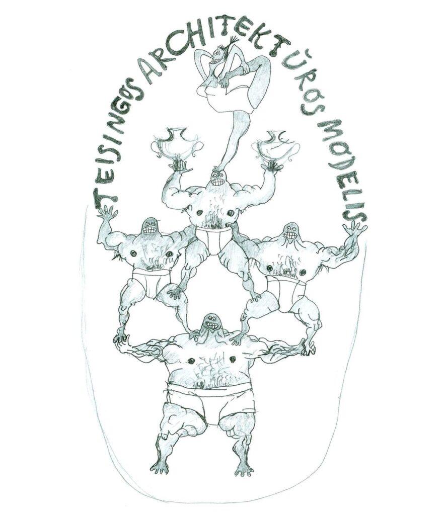 Redakcijos artefaktų archyvas: Agitacinis plakatas aktualumui didinti. Leonardo piešinys, 1997. Redakcijos artefaktų archyvas: Filosofinis-probleminis plakatas. A.Kavaliausko piešinys, 2000.