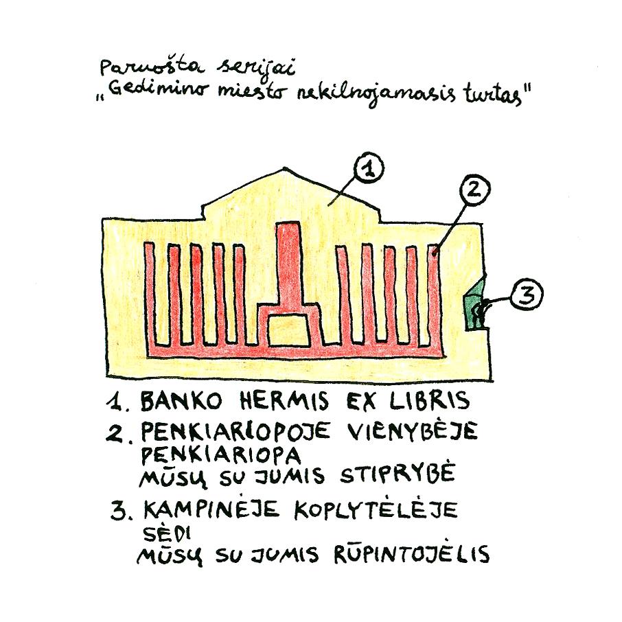 Redakcijos artefaktų archyvas: Ex-libris Banko Hermis pastatui. A.Kavaliausko piešinys, 1997.