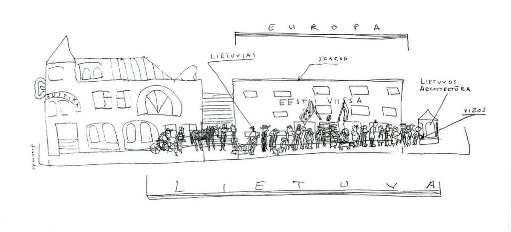 Redakcijos artefaktų archyvas: Estijos ambasados Vilniuje premjera. Leonardo piešinys, 1999.