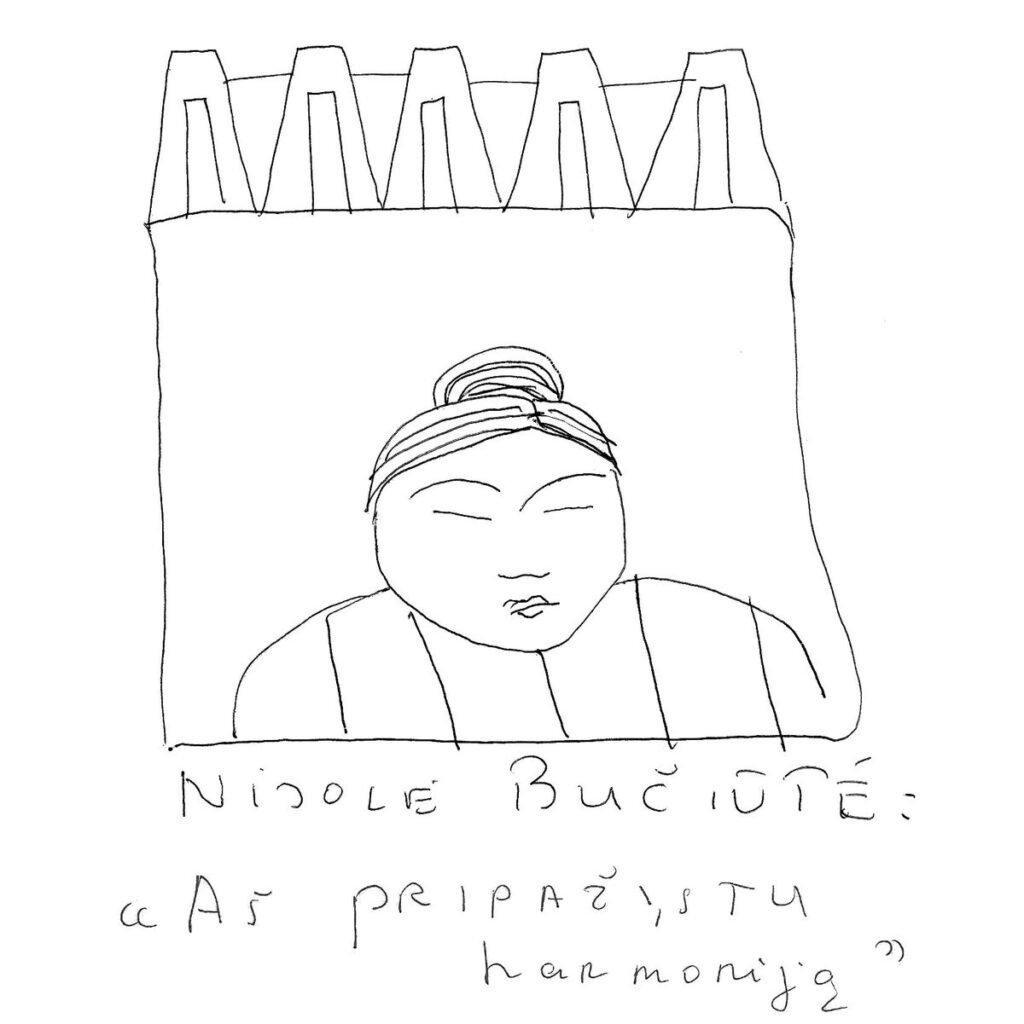 Redakcijos artefaktų archyvas: klasikė Nijolė Bučiūtė. Leonardo piešinys, 1997.