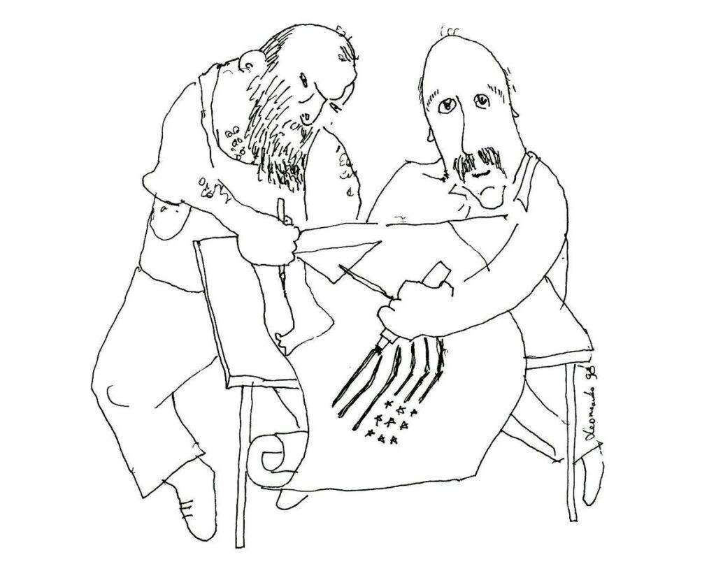 Redakcijos artefaktų archyvas: Simas ir Algimantas Bublys kūrybinėje aistroje. Leonardo piešinys, 1998.