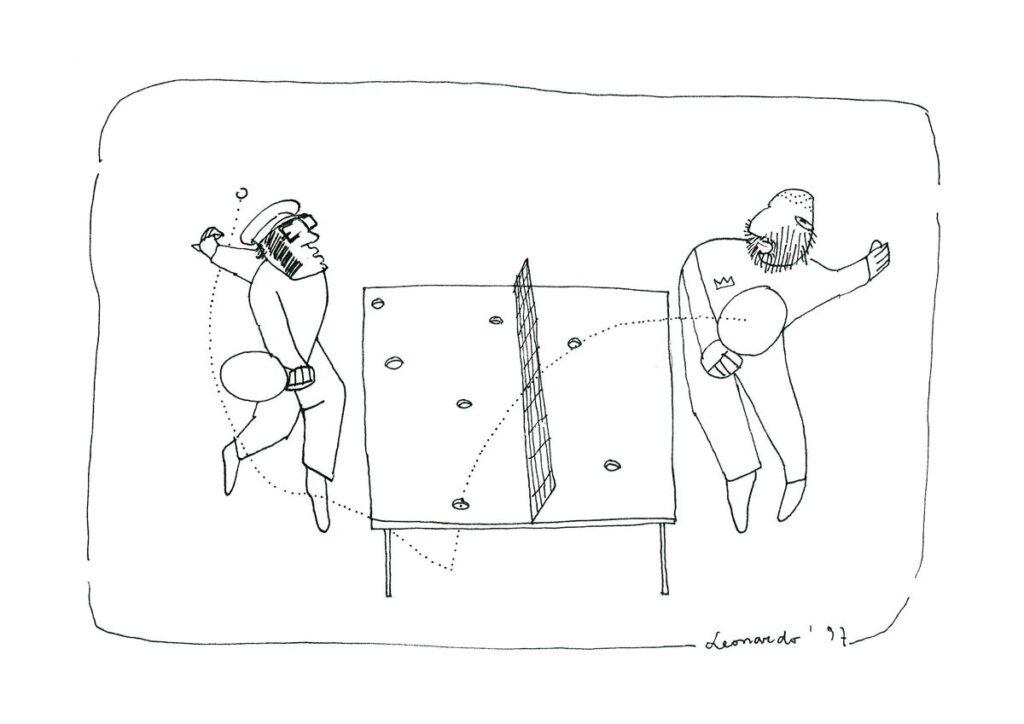 Redakcijos artefaktų archyvas: architektūros redaktorių kova. Leonardo piešinys, 2002.