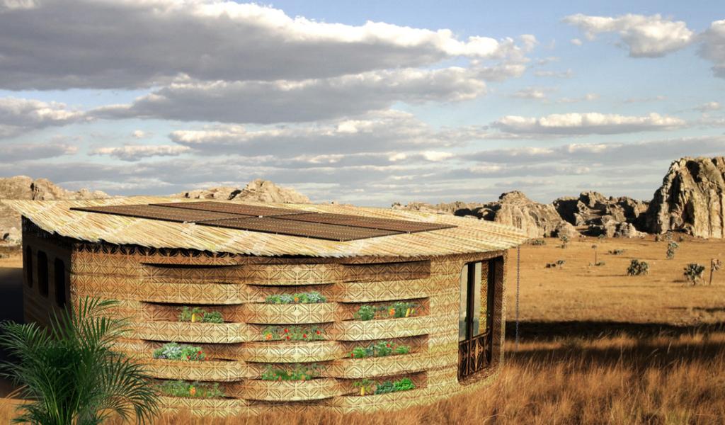 "Mokykla Madagaskare (arch.: ""Studio Mortazavi"". Pav.: ""Thinking huts"" ."