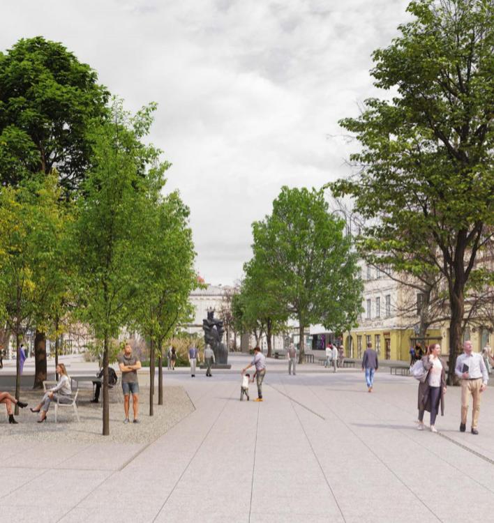"""Konkursinis projektas """"Strassen-Platz"""" (arch. I.Račkauskas, M.Glodenis, M.Kauzonas), 1 vieta."""