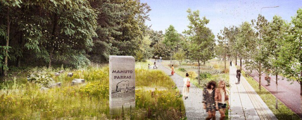 "Konkursinis darbas devizu ""Mamuto parkas"" (autoriai D.Baltrušaitis, A.Dailidaitė, P.Kliučininkas, J.Šerpetauskytė), 1-oji vieta."
