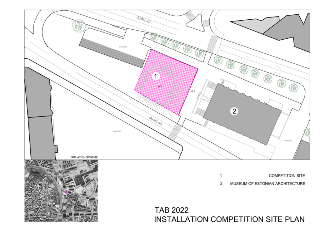 TAB 2022 eksperimentinės lauko instaliacijos sklypo planas