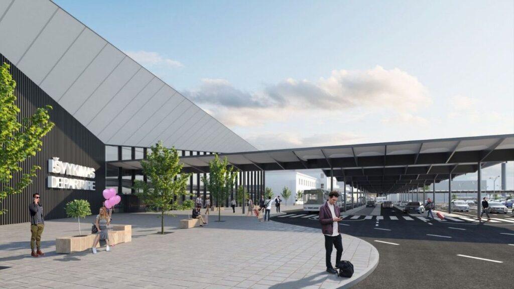 """Vilniaus oro uosto keleivių išvykimo terminalas, arch. """"Vilniaus architektūros studija""""."""