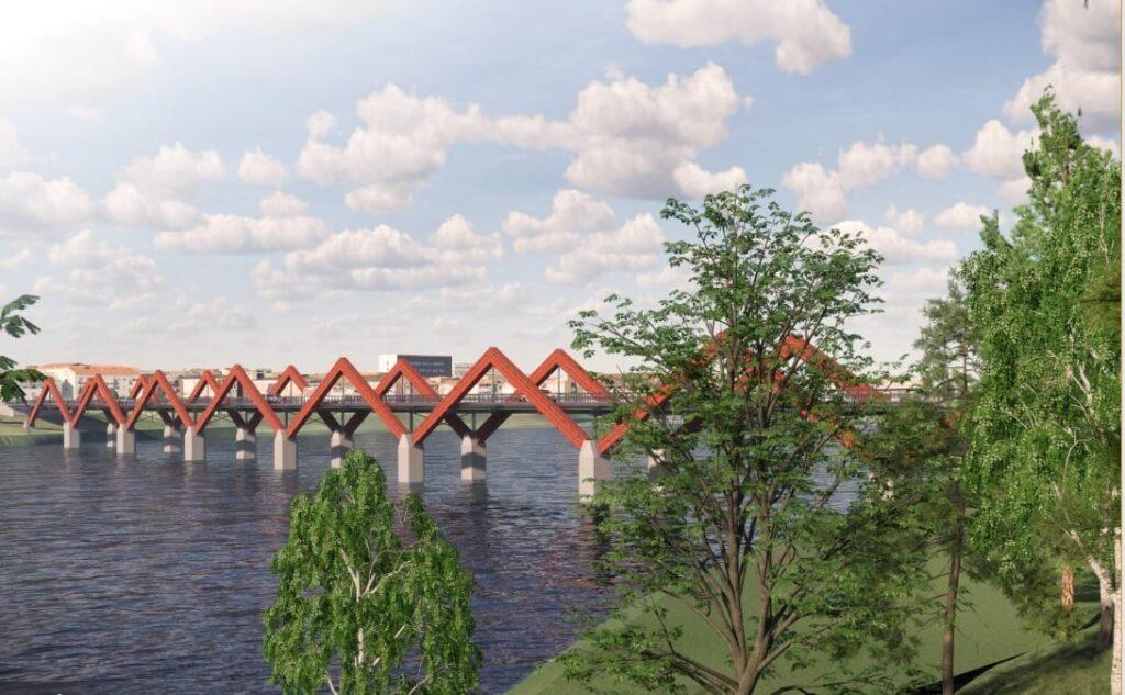 """Medinis tiltas Skellefteå mieste (""""Kauno tiltai"""")."""