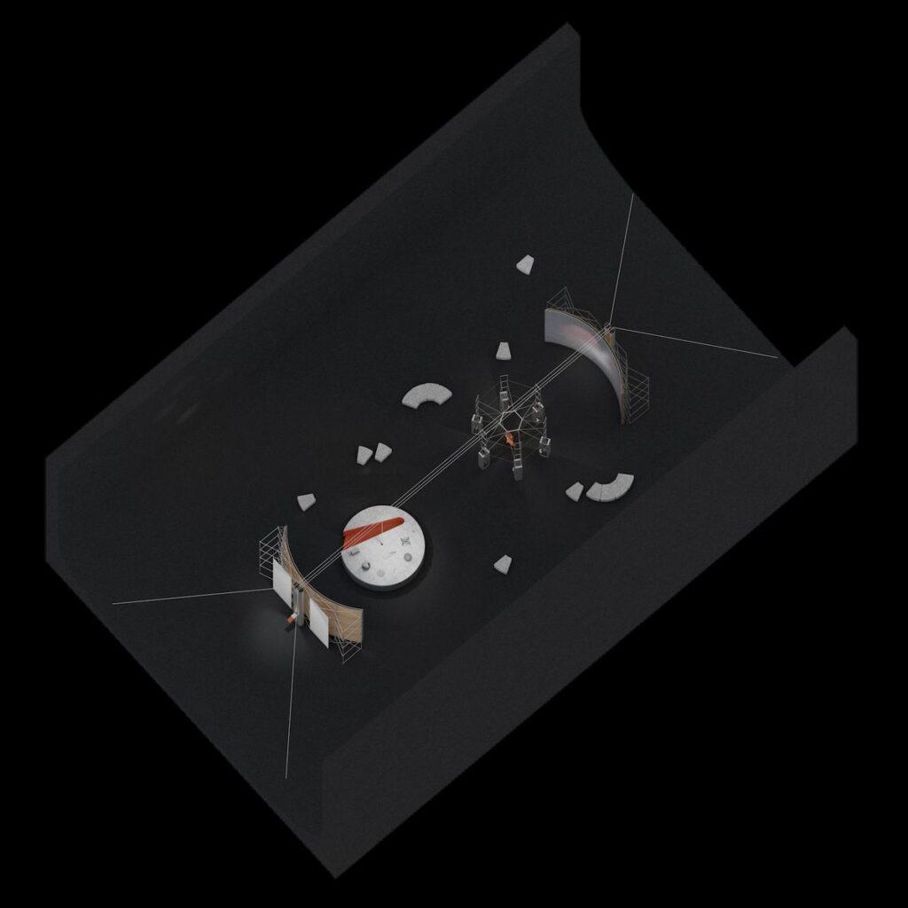 "1. Lietuvos erdvės agentūros laboratorijos aksonometrija (2021) © Julijonas Urbonas ir ""Isora x Lozuraityte Studio for Architecture"". Lietuvos erdvės agentūros vizualizacija."