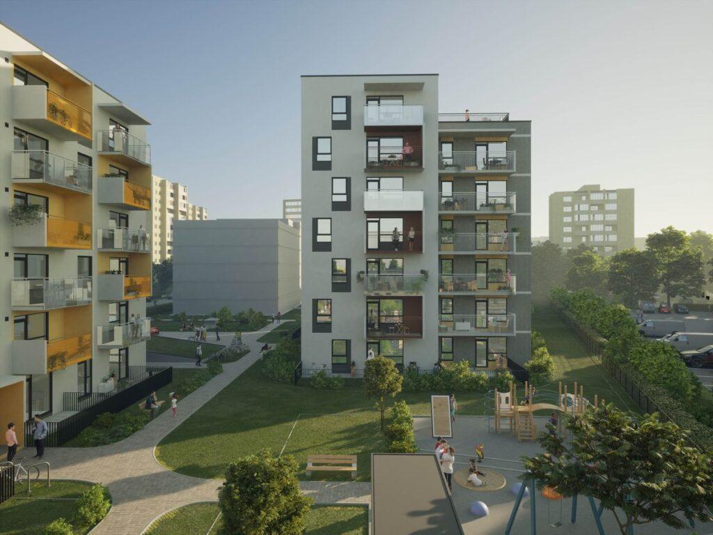 """Vilniaus Vilkpėdėje pradedadama gyvenamojo kvartalo """"Mėlyni vilkai"""" statyba, kurį suprojektavo architektūrinė įmonė """"Eventus projektai""""."""