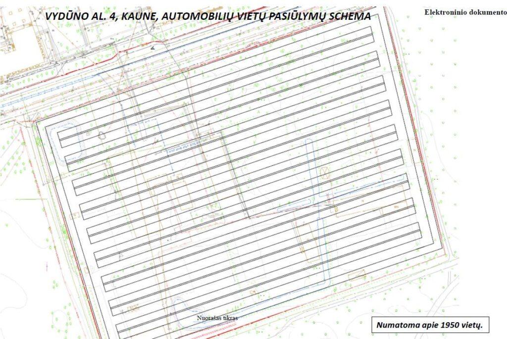 Kauno miesto tarybos patvirtinta parkingo schema Kauno Ąžuolyne, 2021.02.02.