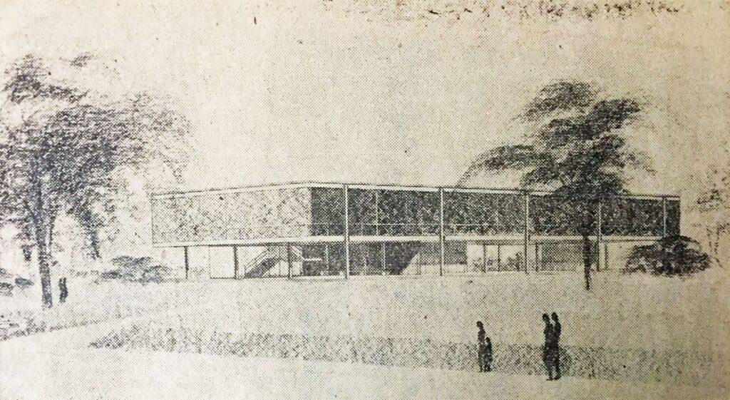 Architekto M. van der Rohe originalus projektas (1952 m.).