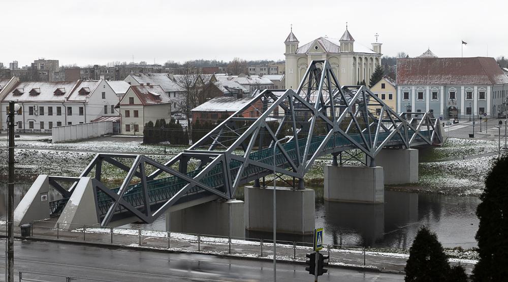 """Medinis pėsčiųjų tiltas Kėdainiuose (arch. """"Palys architects"""", """"Sweco Lietuva"""")."""