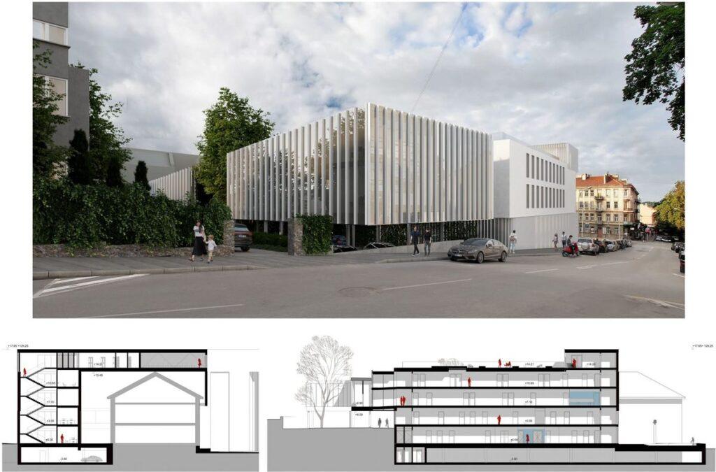 "VšĮ Centro poliklinikos diagnostikos centro priestato konkursinis projektas ""Jungtis"" (arch. ""Ambraso architektų biuras""), 1-oji vieta."