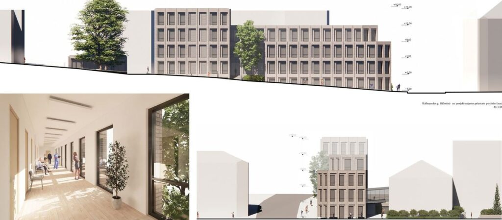 "VšĮ Centro poliklinikos diagnostikos centro priestato konkursinis projektas ""777777"" (arch. MB ""IMM architektai"" ), 2-oji vieta."