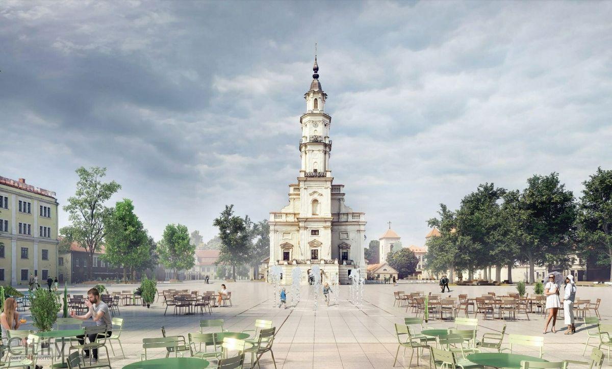 """Rotušės aikštės kapitalinio remonto projektiniai pasiūlymai (arch. MB """"SOMA Architects"""")."""
