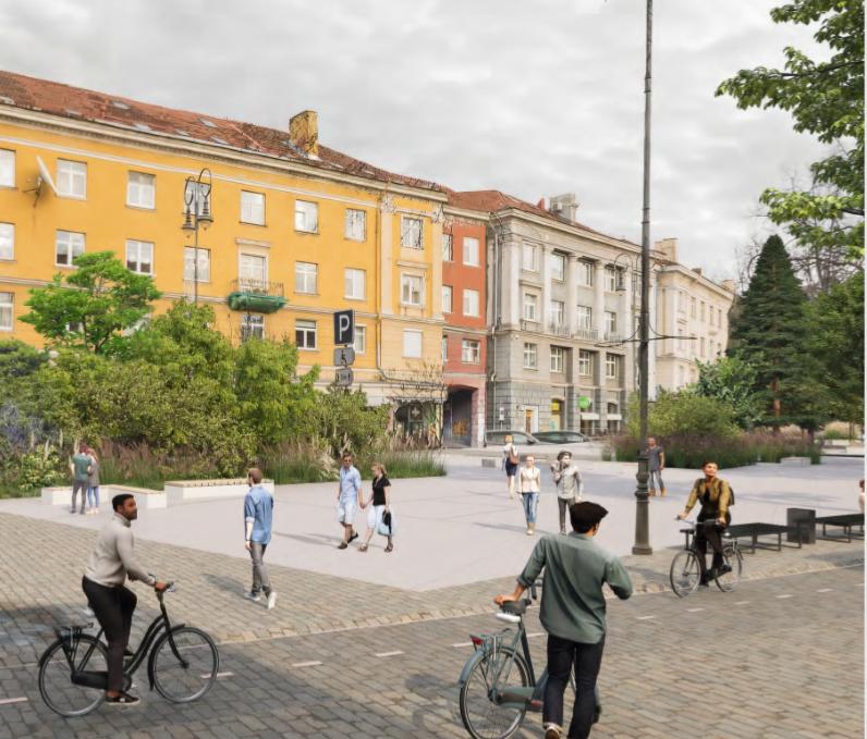 """Konkursinis projektas """"Strassen-Platz"""" (arch. I.Račkauskas, M.Glodenis, M.Kauzonas)."""